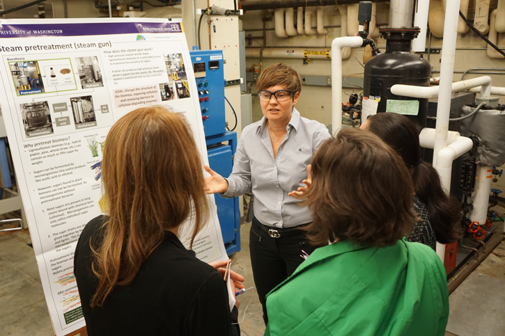 Extension professionals Patricia Townsend, Cat Gowan, and Noelle Hart gather around Renata Bura as she explains what happens to the poplar chips after the steam explosion in the UW lab.