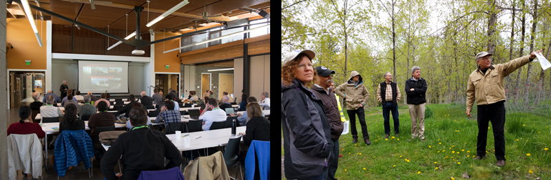 Left: Attendees at TREES listening to a speaker give his presentation. The Summit was held at the Brightwater Center in Woodinville, WA. Right: After the meeting attendees toured a poplar planting at the former Duvall Landfill.