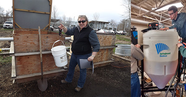 On the left, an OSU student dumps a bucket of scraps into the compost bin, and on the right, students work together to process biodiesel.