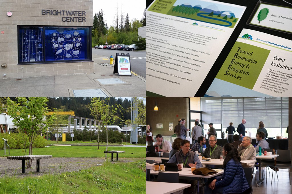 Upper left: The entrance to the Brightwater Center and an AHB sign pointing TREES attendees in the right direction. Upper right: The TREES program, name tags, and event evaluation. Lower right: Attendees having productive conversations during a break. Lower left: Benches and trees make a picturesque outdoor landscape at the Brightwater Center.