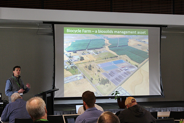 Todd Miller talked about the Biocycle Farm managed by the Metropolitan Wastewater Management Commission in Oregon, which helps the wastewater treatment facility process biosolids and wastewater effluent.