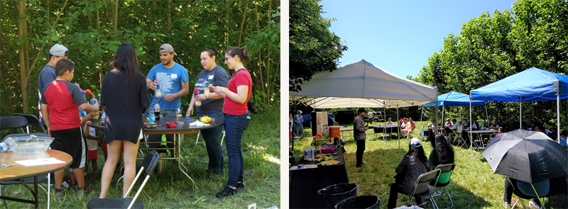 On the left, Cat Gowan and 3 UW student volunteers work with two Latino boys on an experiment. In the image on the right, benath tents that were set up in the poplar field, a speaker is standing and talking to a large group of seated adults about renewable energy.