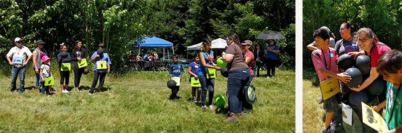 On the left, children line up for Yolimar to exchange their black balloons for green ones. On the right, Cat and several kids try to hold onto the black balloons as they overflow their container.