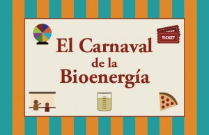 """""""El Carnaval de la Bioenergía"""" written in red on a tan background set on top of blue and orange stripes. Graphics of a game wheel, biodiesel, raffle tickets, pizza, and a presenter surround the title illustrating the different activites at the event."""
