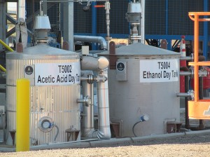 The large, gray, metallic Acetic Acid and Ethanol Day Tanks at the Zeachem biorefinery.