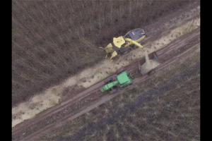 A bird's-eye-view of the harvester and tractor chipping the coppiced poplar trees (with no leaves) during the 2nd harvest at Jefferson.