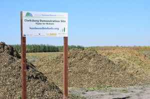 """After the harvest, piles of woodchips sitting next to and behind the sign that says Clarksburg Demonstration Site """"Poplar for Biofuels""""."""