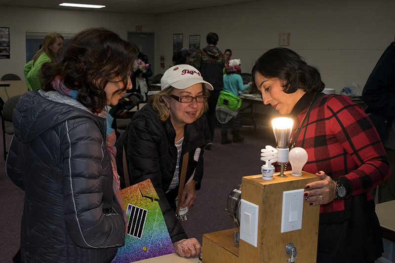 Two women lean towards the demonstration meter as Tatiana turns on the CFL lightbulb.