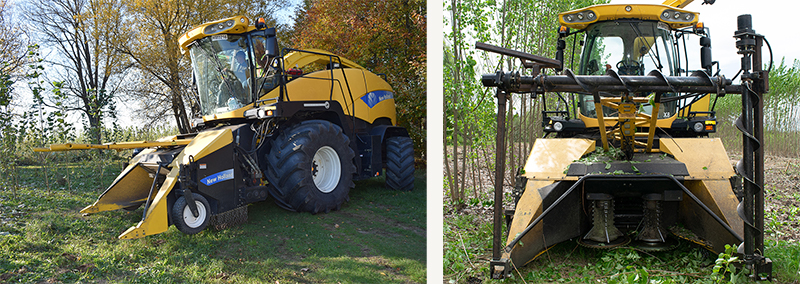 On the left a side view of the yellow harvester with a two pronged header. On the right, a front view of the redesigned header.