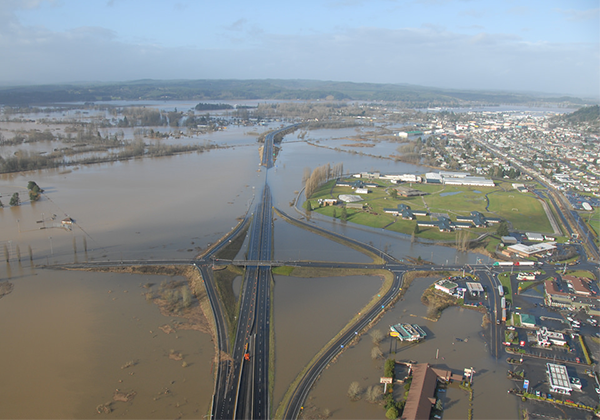 Floodwaters cover the landscape around I-5 near the city of Chehalis.