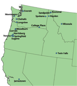 Map of municipalities in the Pacific Northwest that use poplar for environmental benefits