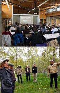 Above: Attendees at TREES listening to a speaker give his presentation. The Summit was held at the Brightwater Center in Woodinville, WA. Below: After the meeting attendees toured a poplar planting at the former Duvall Landfill.