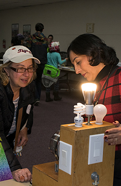 Tatiana demonstrates how different lightbulbs can save energy.