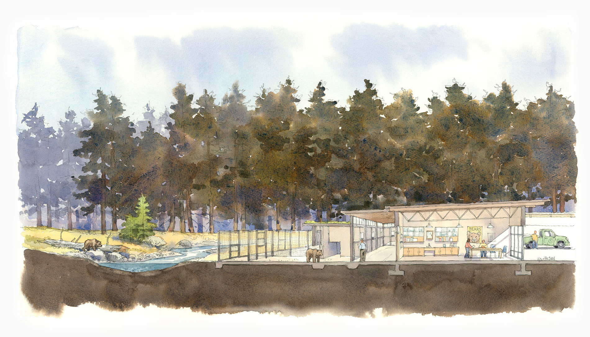 A watercolor sketch of a bear facility next to a river and forest