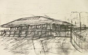 Pencil sketch of a building