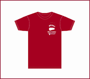 A red t-shirt with a bear center logo