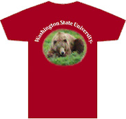 Red T-Shirt with photo of a bear on it and text Washington State University