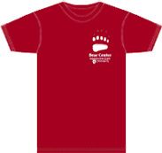 Red T-Shirt with bear center logo on it