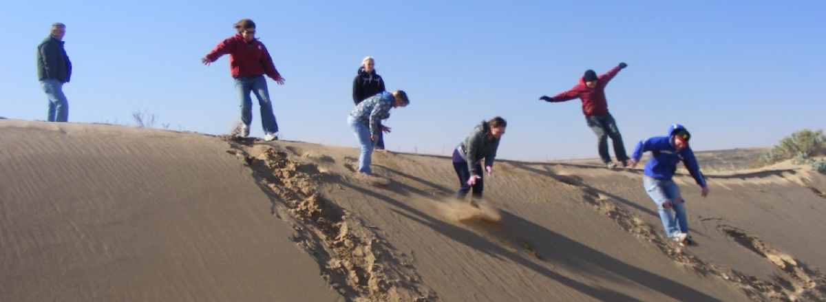 students on dunes long