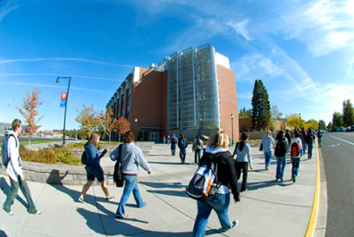 View of Students Walking on WSU Campus