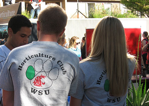Students wearing t-shirts that read WSU Horticulture Club