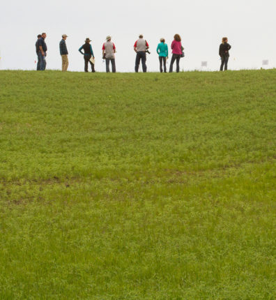 People stand on the crest of a hill