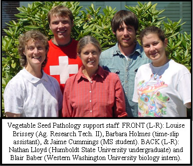 A group photo with the text Vegetable Seed Pathology support staff. Front (L-R): Louise Brissey (Ag. Research Tech II), Barbara Holmes (time-slip assistant), & Jaime Cummings (MS student). Back (L-R): Nathan Lloyd (Humbolt State University undergraduate) and Blair Baber (Western Washington University biology intern).