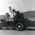 woman on a plot combine.