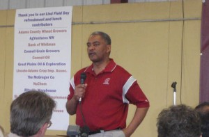 This is an image of President Floyd speaking at Field Day.