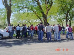 This is an image of people enjoying the ice cream social at a Field Day.