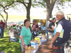 This is an image of people at the ice cream social at a Field Day.