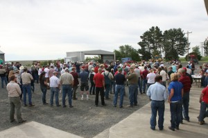 This is an image of a crowd at registration at a Field Day.