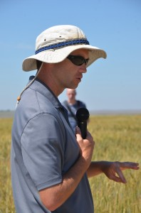 Arron Carter speaking at his field tour.
