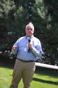 Derek Sandison speaking during the noon program.