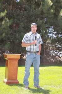 Josh Knodel speaking during the noon program.