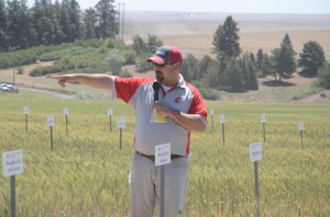 Mike Pumphrey speaking at his field tour stop.