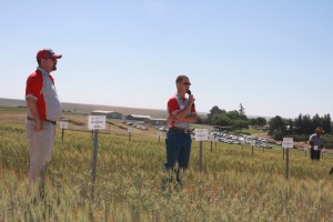 Ryan Higginbotham speaking at a field tour stop.