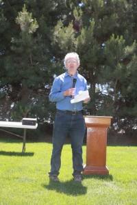 Tim Paulitz speaking during the noon program.