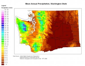 Mean Annual Precipitation, Washington State. Image by D. Collins. Data source: United States Department of Agriculture/Natural Resource conservation Service – National Cartography and Geospatial Center 1971-2000.