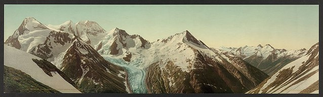 Mt. Fox and Mt. Dawson with Dawson's Glacier from Asulkan Pass, Selkirk Mountains, British Columbia, 1902. Image: From the Photochrom Prints Collection at the Library of Congress. This image is available from the United States Library of Congress's Prints and Photographs division under the digital ID ppmsca.18301