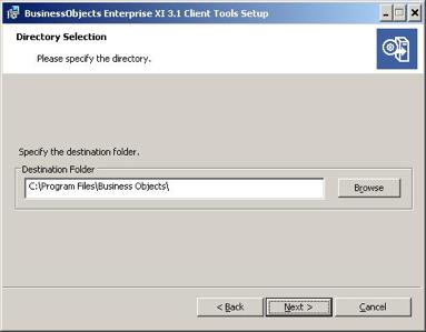 directory selection window