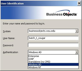 user identification window