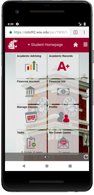 new my WSU fluid interface mobile version