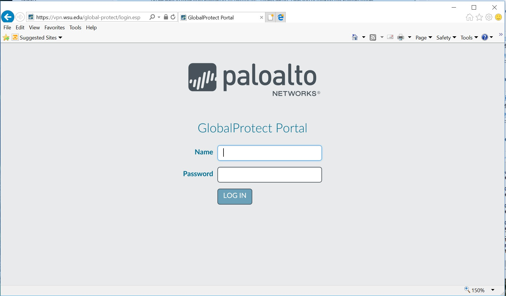 Paloalto Login Screen