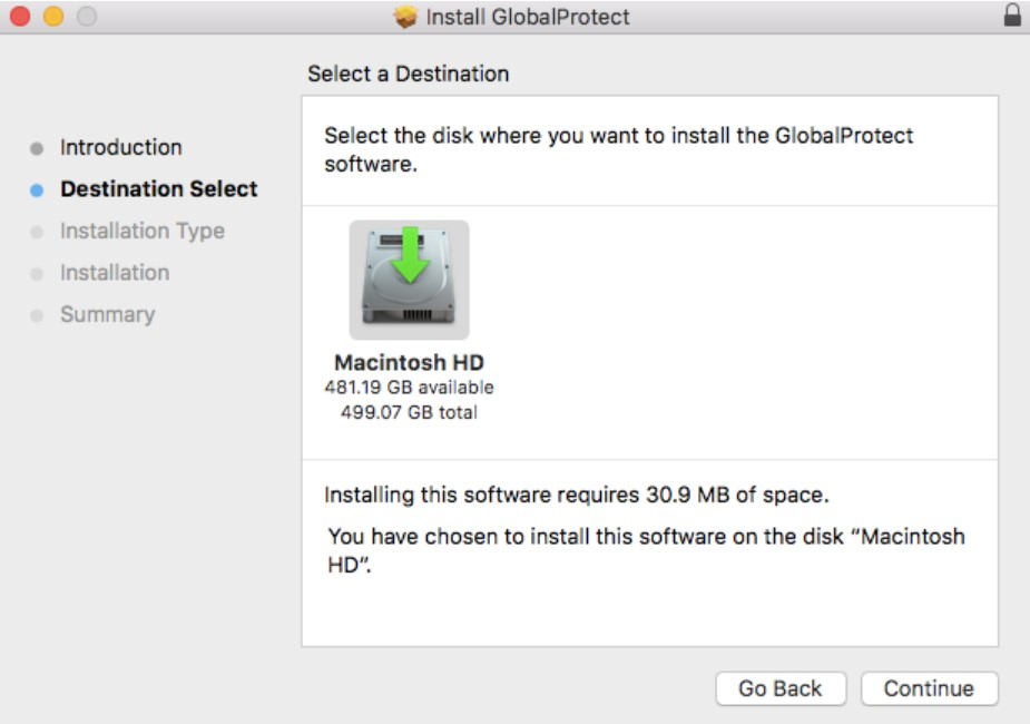 GlobalProtect destination select