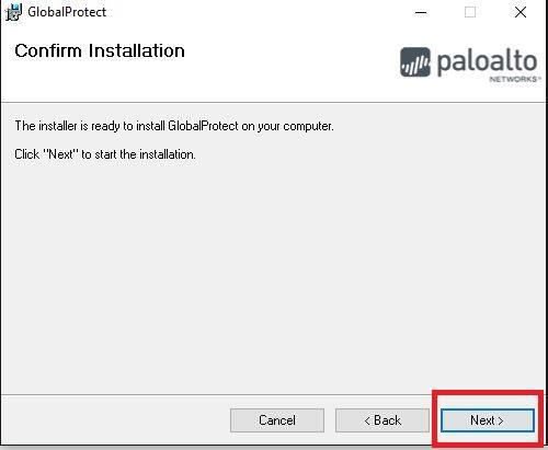 Confirm Installation Screen