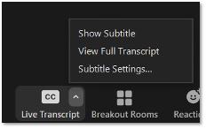 Zoom screenshot enable Live transcription