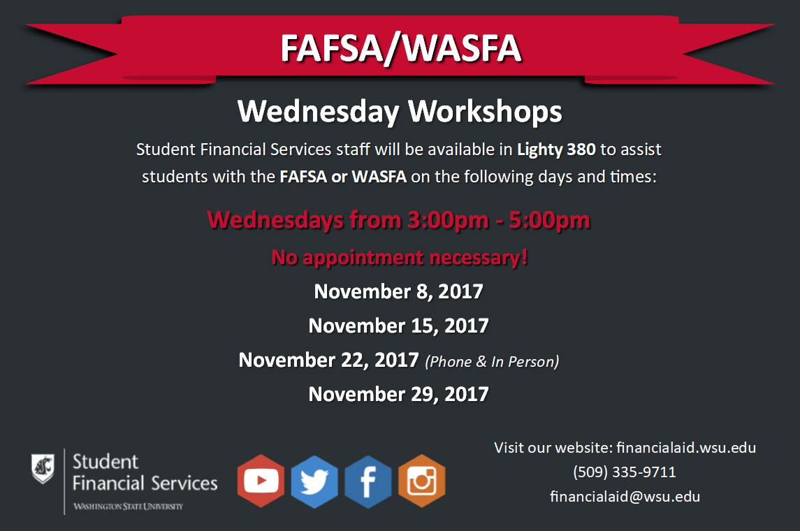 Fafsa Wasfa Wednesday Workshops Student Financial Aid