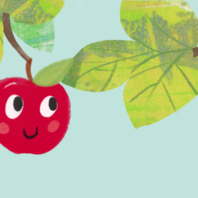 Illustration of smiling apples