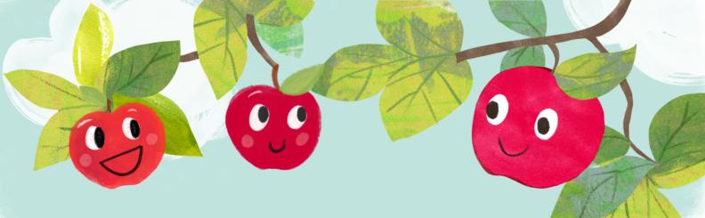 Illustration of smiling apples